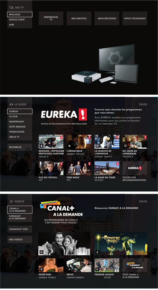 Images de la nouvelle interface TV du Cube de Canalsat