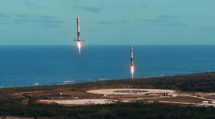 retour sur le lancement historique du falcon heavy de spacex. Black Bedroom Furniture Sets. Home Design Ideas