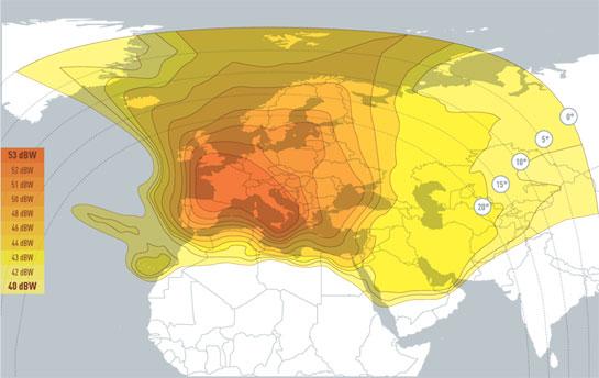 Satellite Hot Bird 13C (zones de couverture, fréquences, pointage)